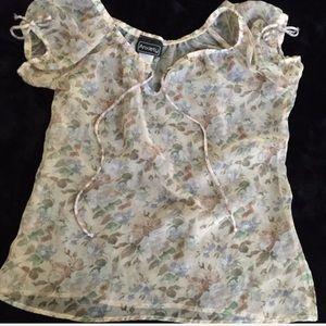 Vintage 90s sheer floral blouse
